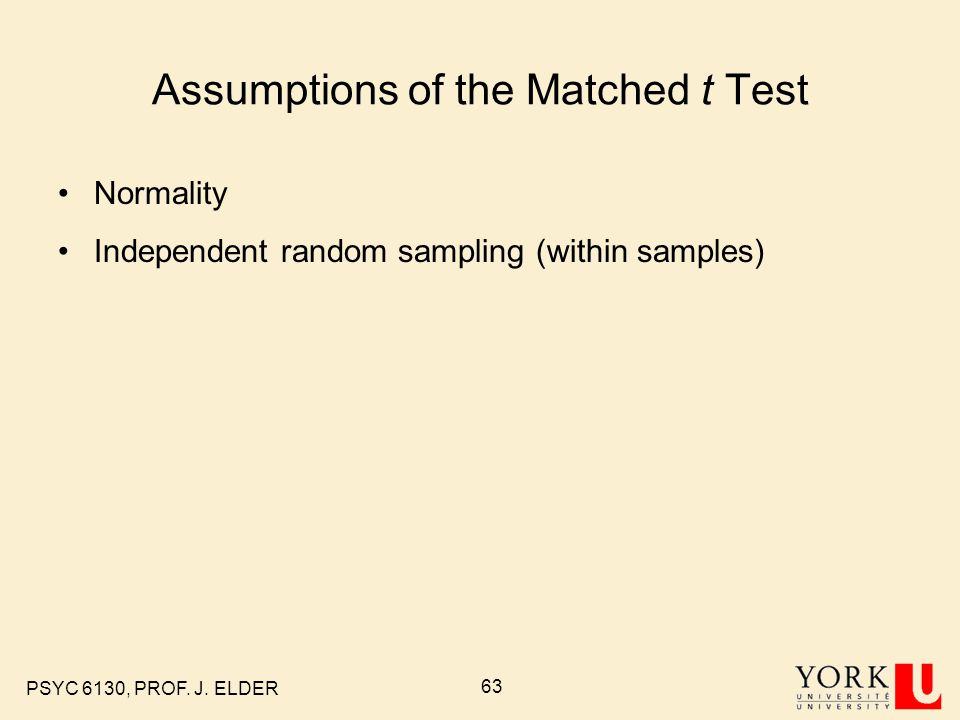 Assumptions of the Matched t Test