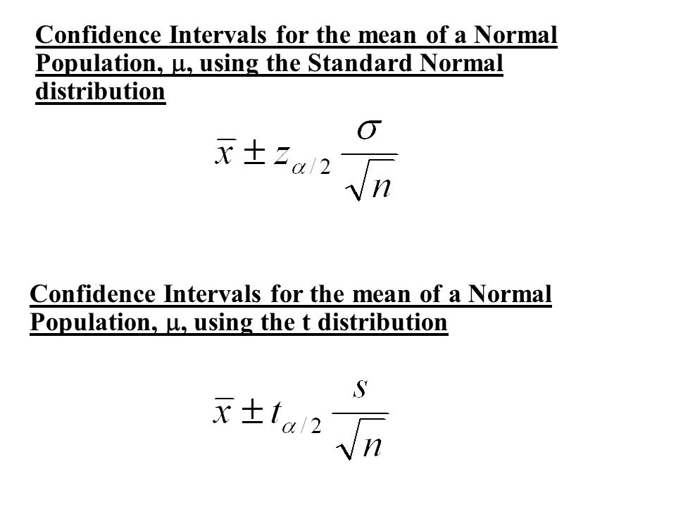 Confidence Intervals for the mean of a Normal Population, m, using the Standard Normal distribution