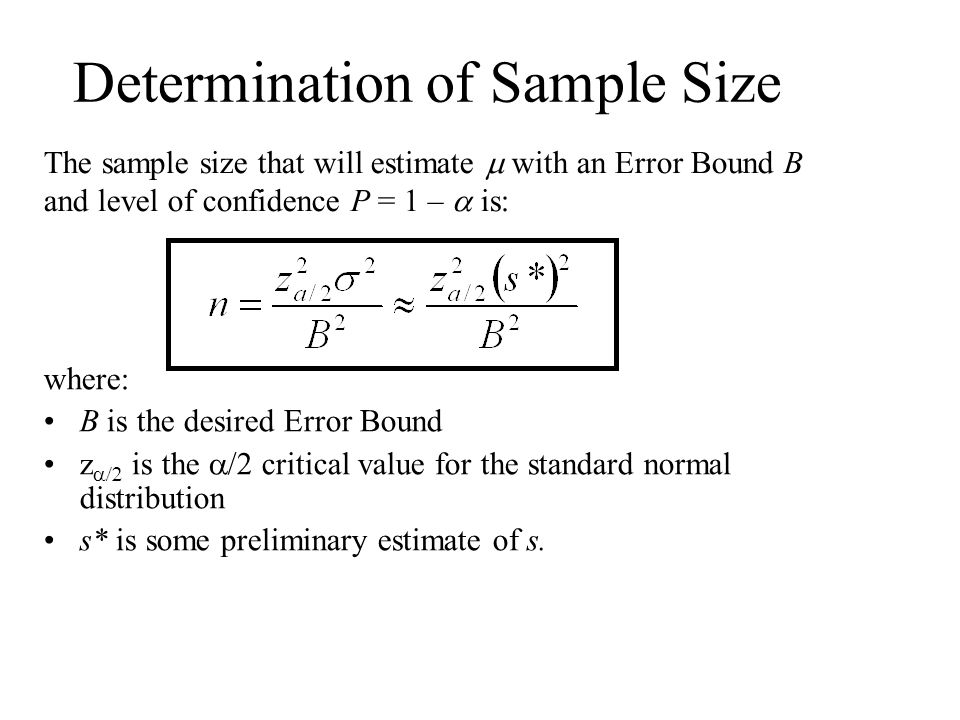 Determination of Sample Size