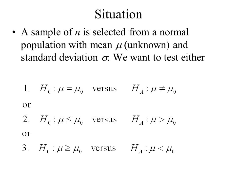 Situation A sample of n is selected from a normal population with mean m (unknown) and standard deviation s.