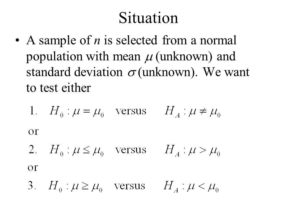 Situation A sample of n is selected from a normal population with mean m (unknown) and standard deviation s (unknown).