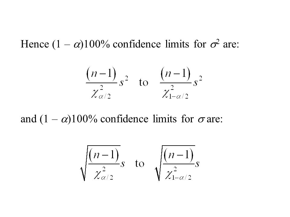 Hence (1 – a)100% confidence limits for s2 are: