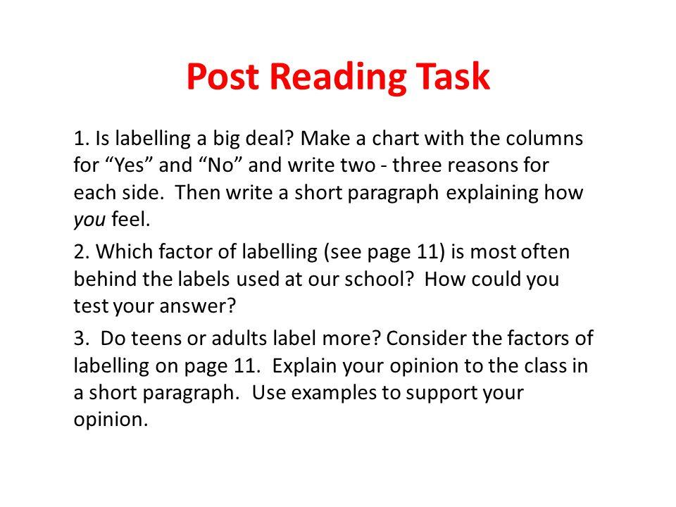 Post Reading Task