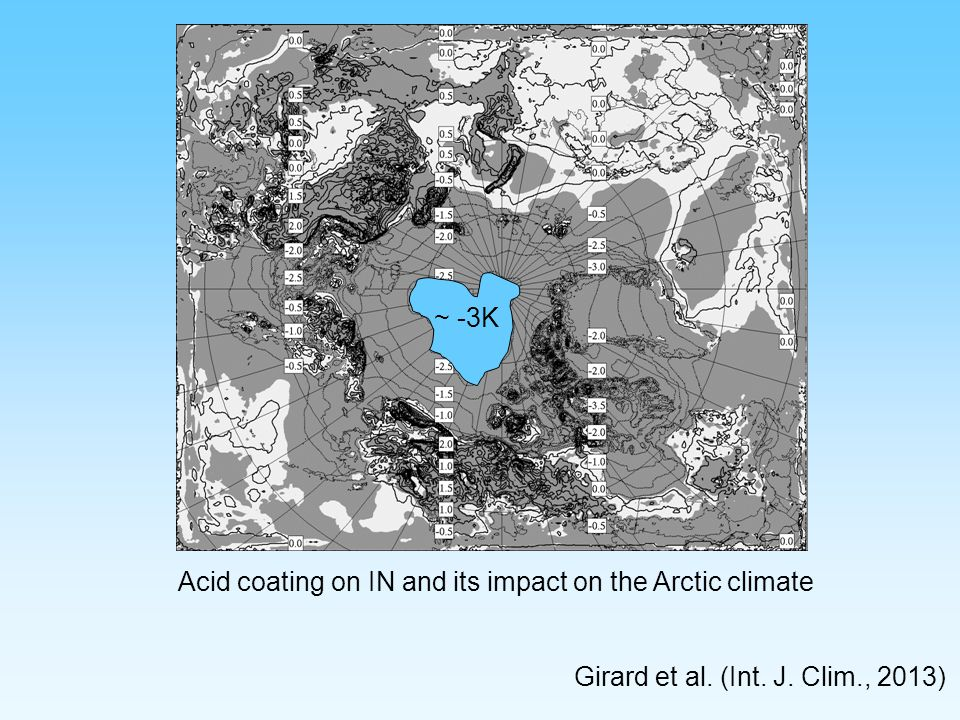 ~ -3K Acid coating on IN and its impact on the Arctic climate Girard et al. (Int. J. Clim., 2013)