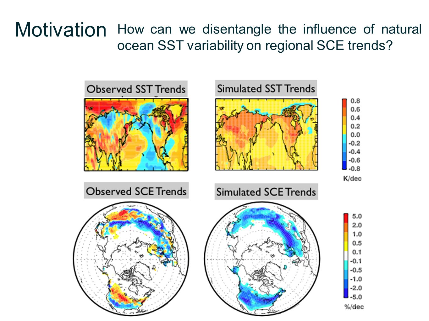 Motivation How can we disentangle the influence of natural ocean SST variability on regional SCE trends