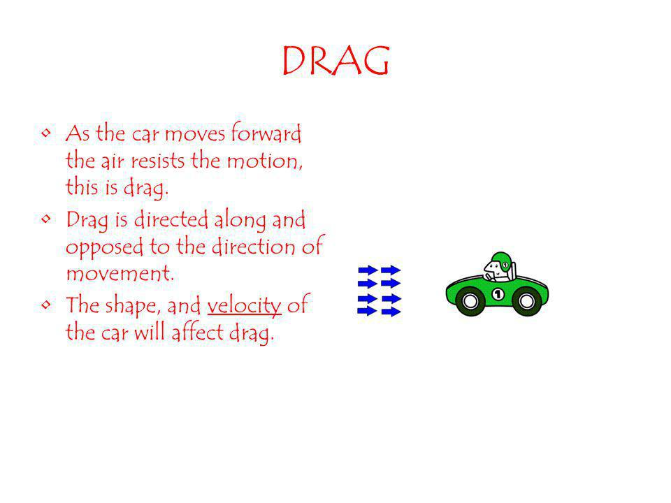 DRAG As the car moves forward the air resists the motion, this is drag. Drag is directed along and opposed to the direction of movement.