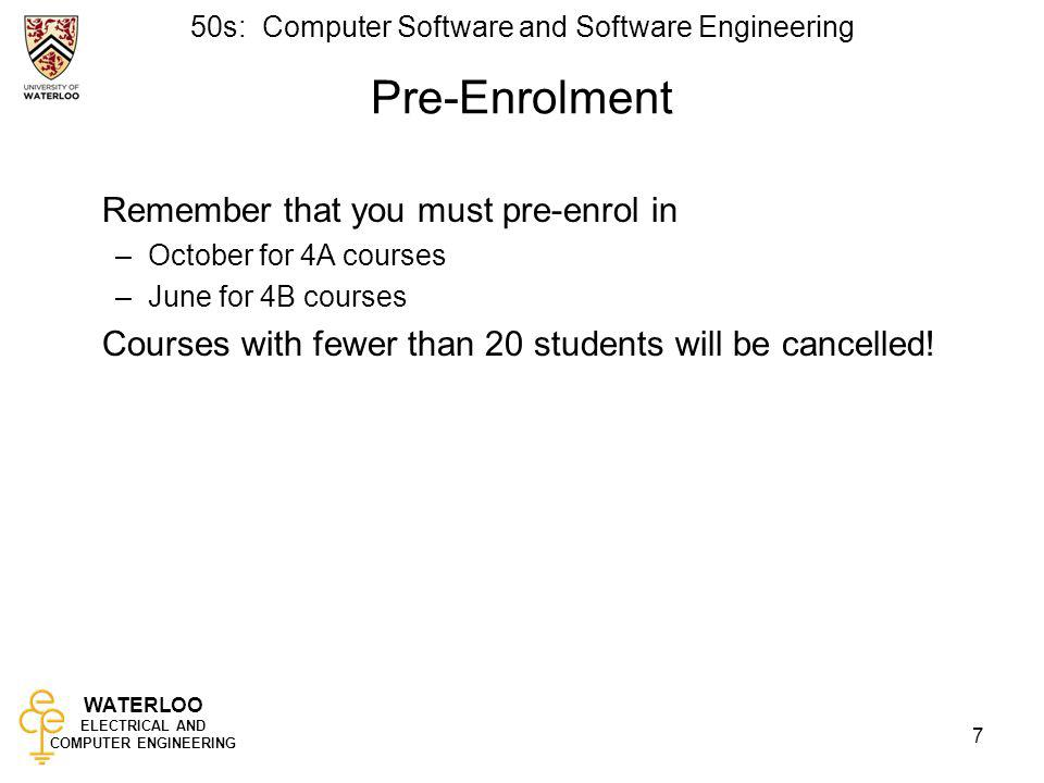 Pre-Enrolment Remember that you must pre-enrol in