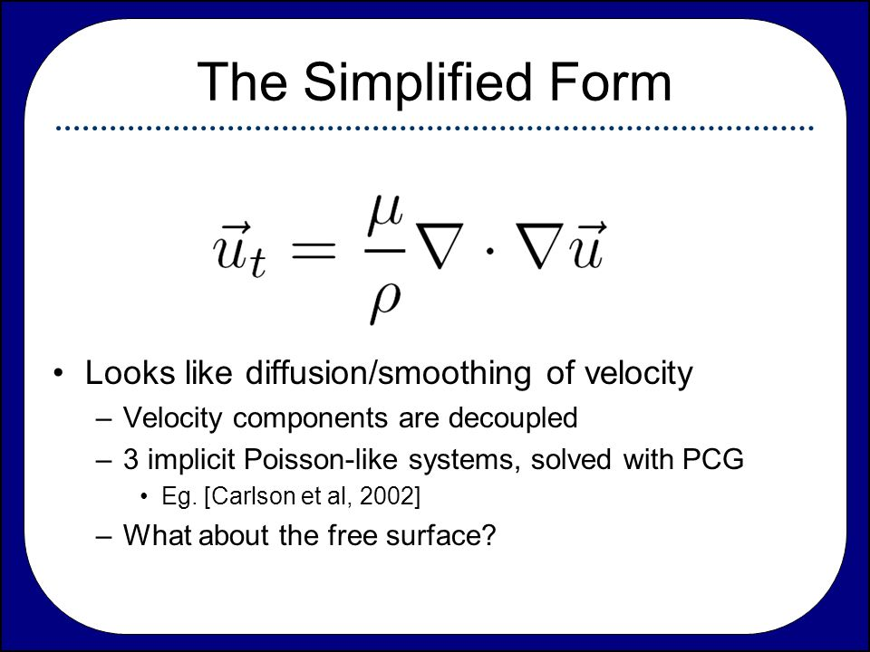 The Simplified Form Looks like diffusion/smoothing of velocity