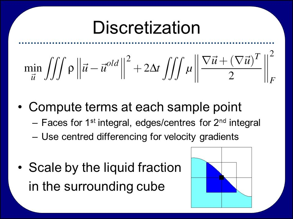 Discretization Compute terms at each sample point