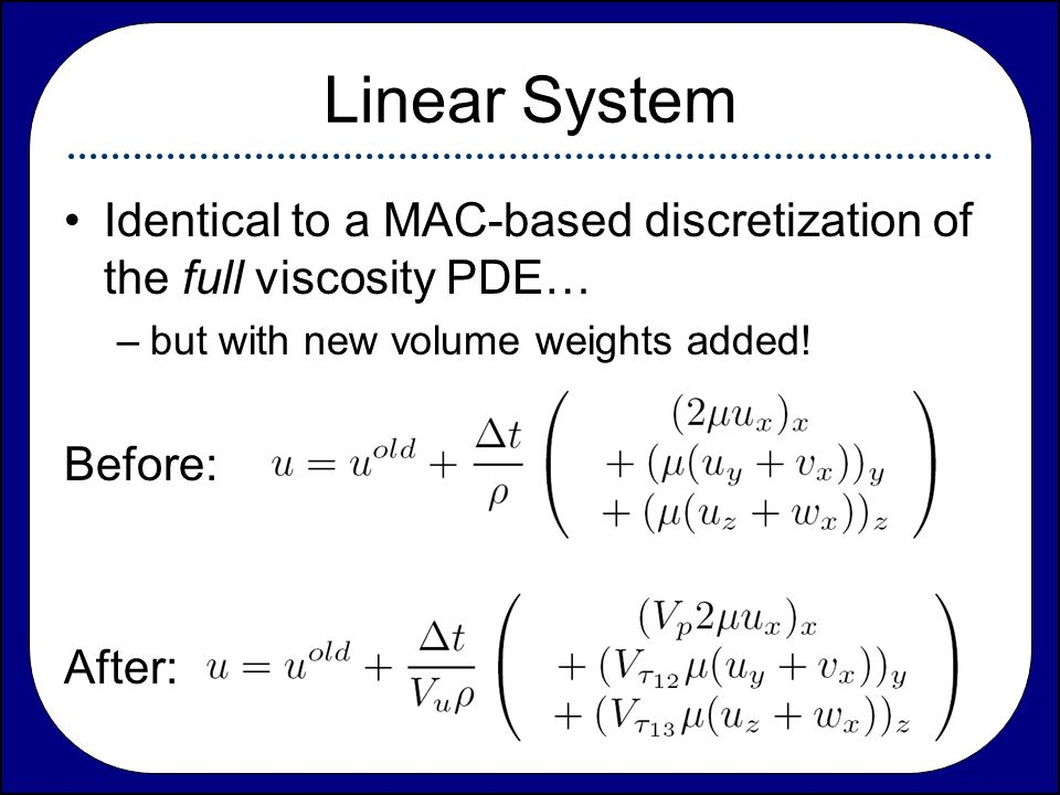 Linear System Identical to a MAC-based discretization of the full viscosity PDE… but with new volume weights added!