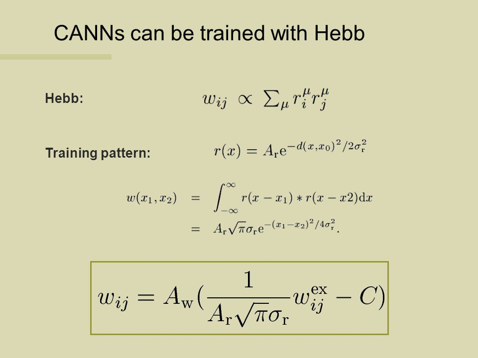 CANNs can be trained with Hebb