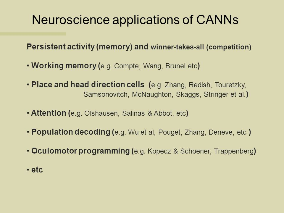 Neuroscience applications of CANNs