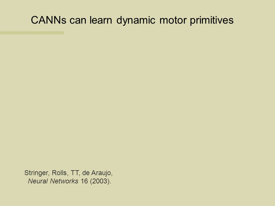 CANNs can learn dynamic motor primitives