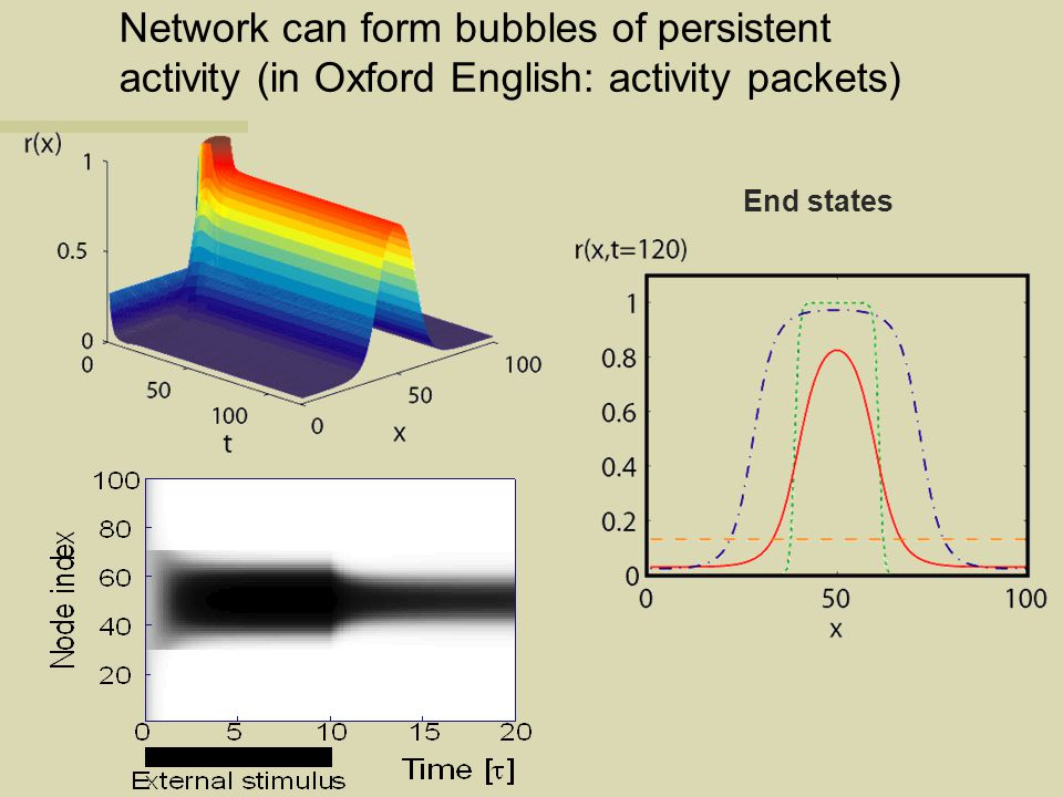 Network can form bubbles of persistent activity (in Oxford English: activity packets)