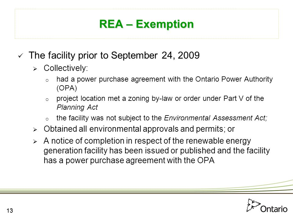 REA – Exemption The facility prior to September 24, 2009 Collectively: