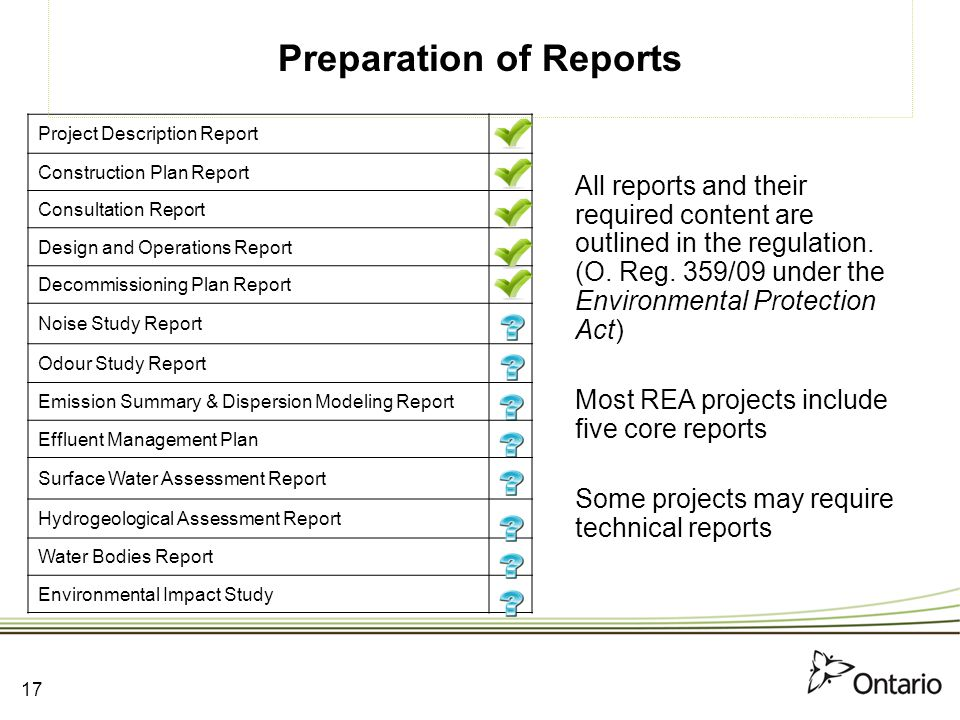 Preparation of Reports