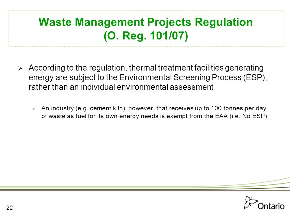 Waste Management Projects Regulation (O. Reg. 101/07)