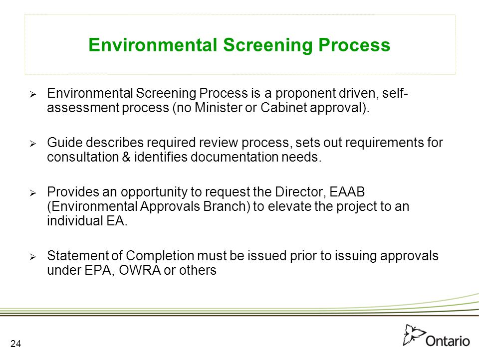 Environmental Screening Process