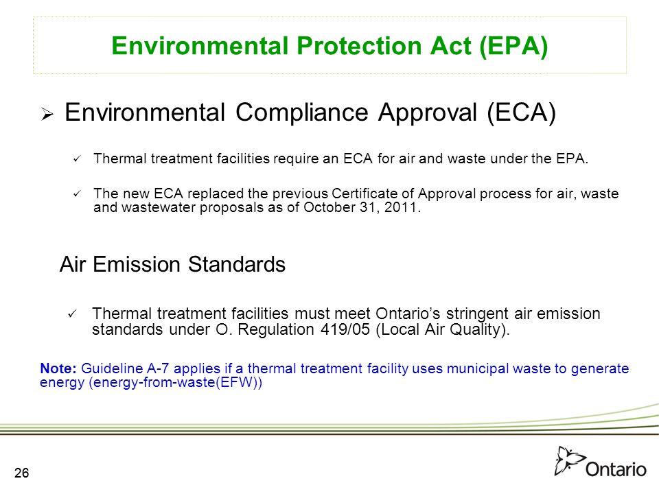 Environmental Protection Act (EPA)
