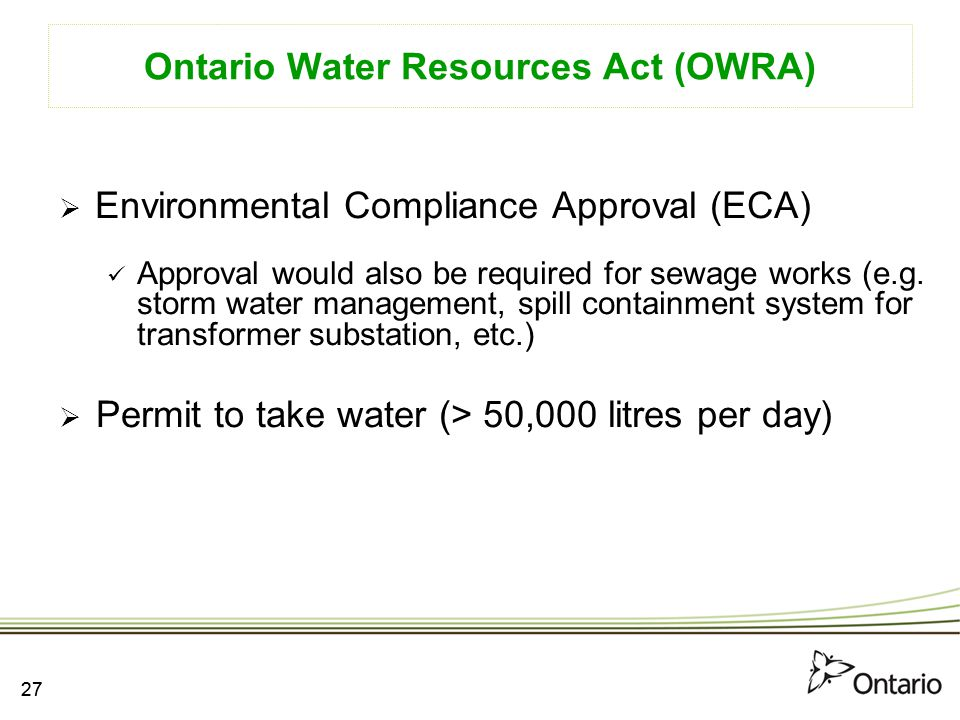 Ontario Water Resources Act (OWRA)