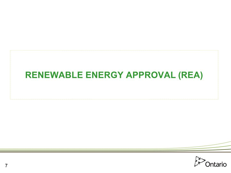 RENEWABLE ENERGY APPROVAL (REA)