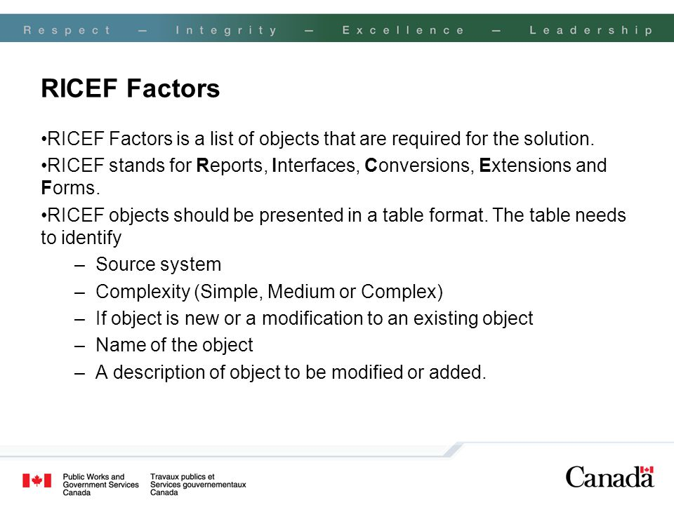 RICEF Factors RICEF Factors is a list of objects that are required for the solution.