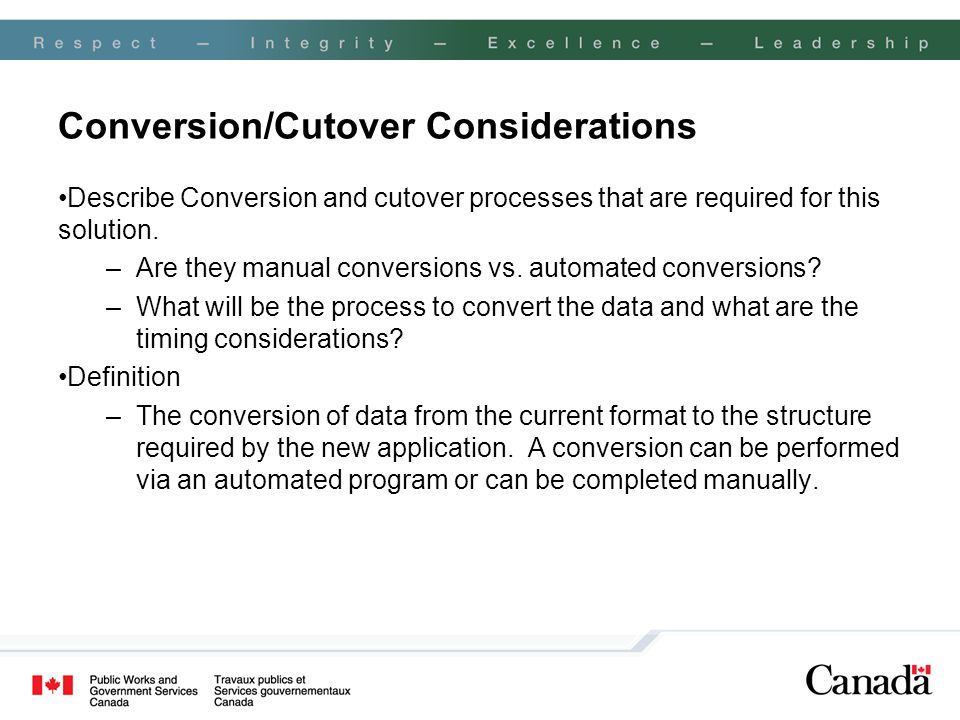 Conversion/Cutover Considerations