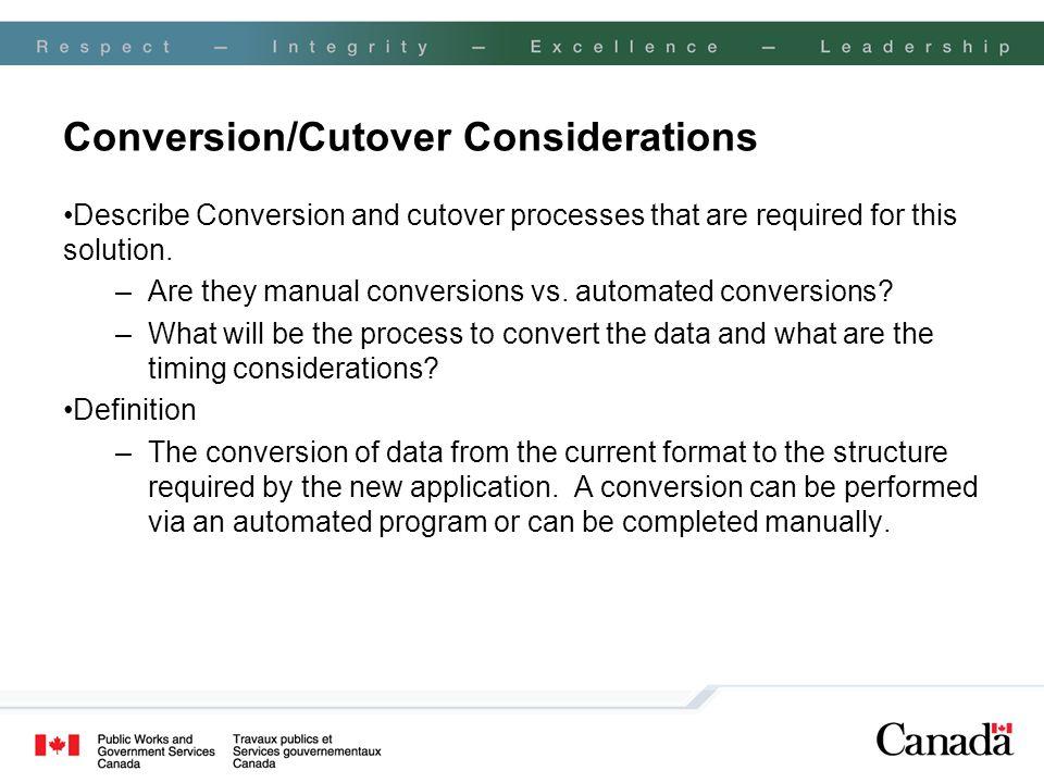 Conversion/Cutover Considerations