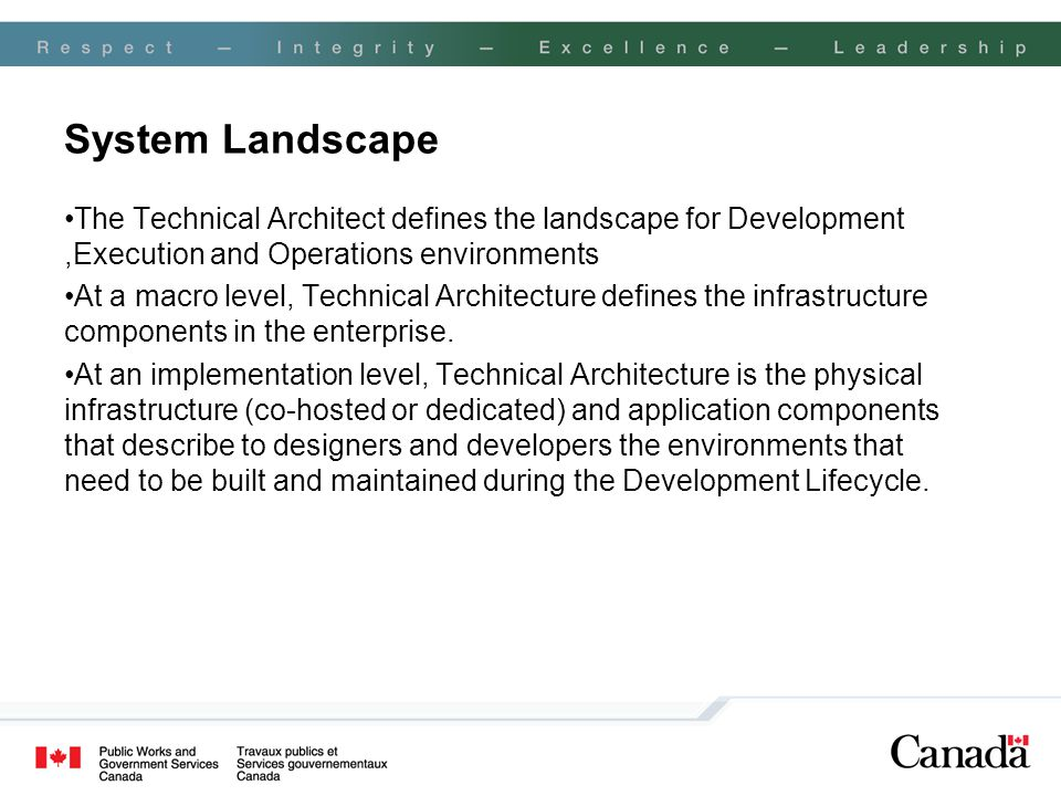System Landscape The Technical Architect defines the landscape for Development ,Execution and Operations environments.