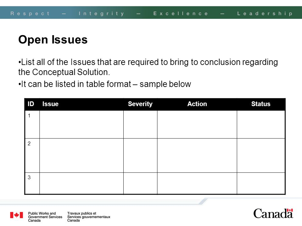 Open Issues List all of the Issues that are required to bring to conclusion regarding the Conceptual Solution.