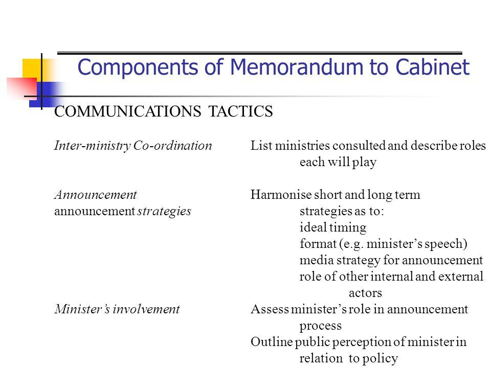 Components of Memorandum to Cabinet