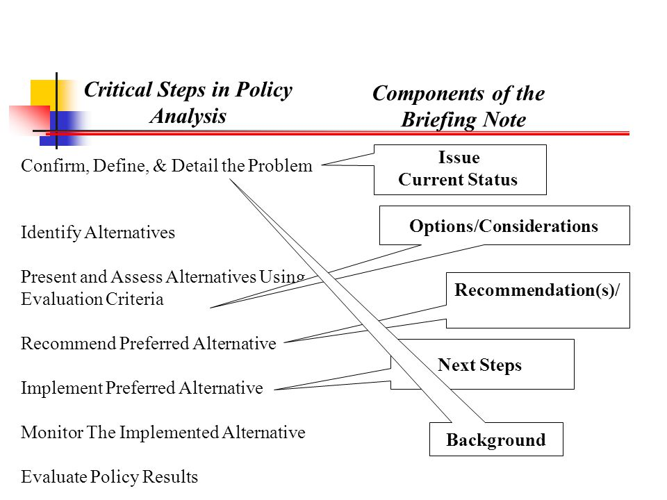 Critical Steps in Policy Options/Considerations