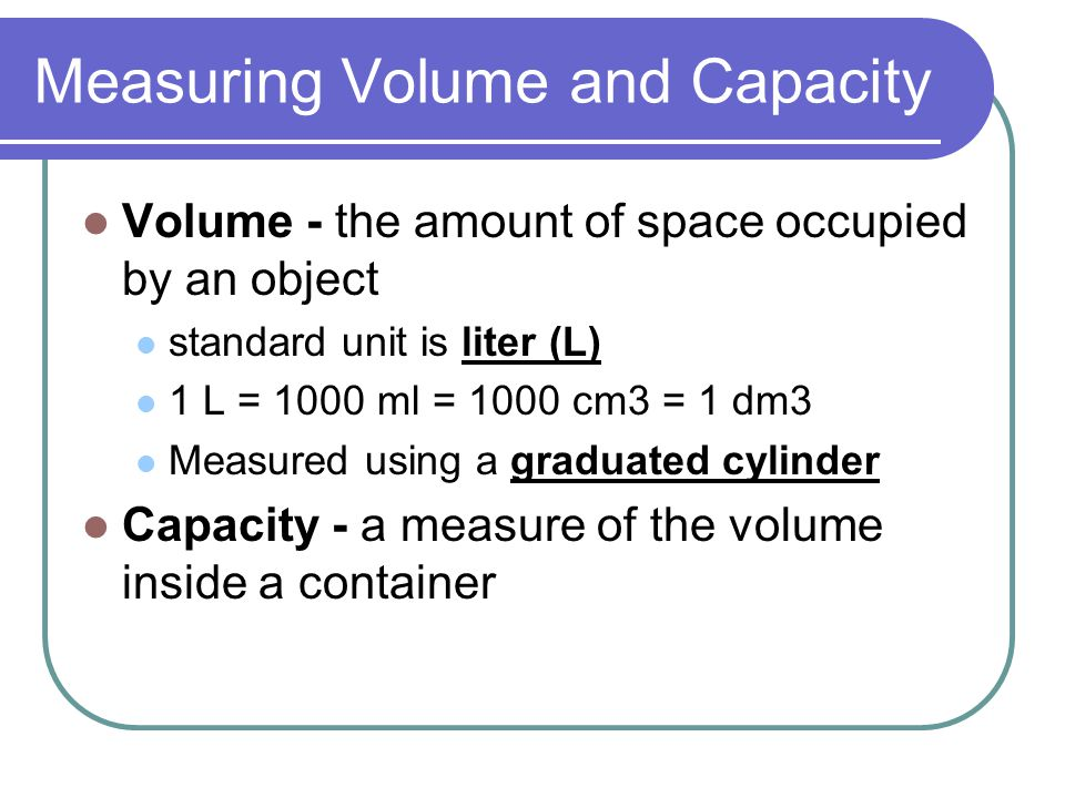 Measuring Volume and Capacity