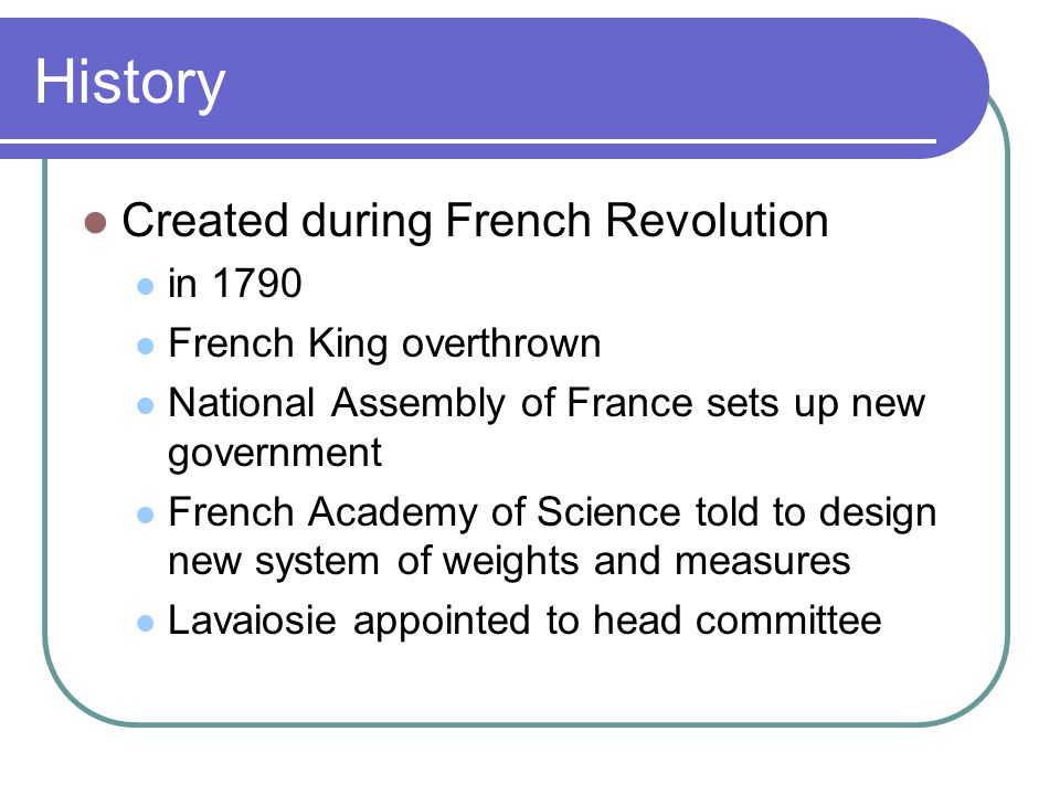 History Created during French Revolution in 1790