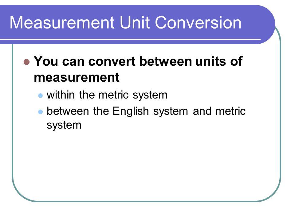 Measurement Unit Conversion