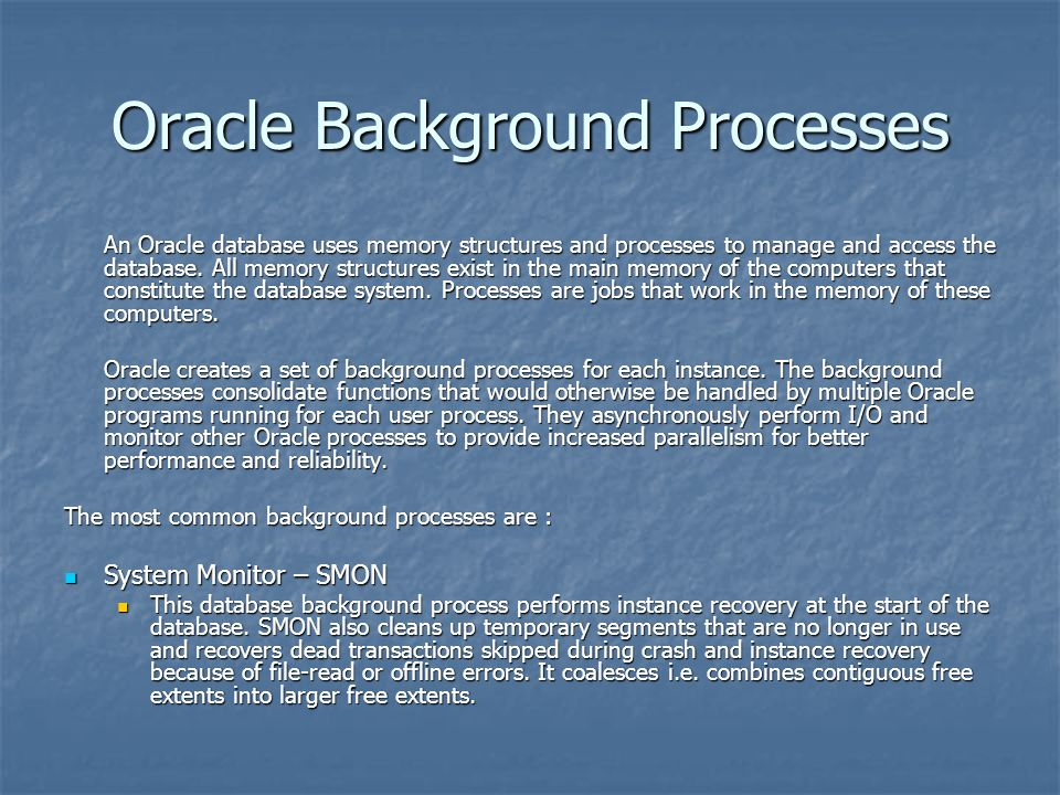 Oracle Background Processes