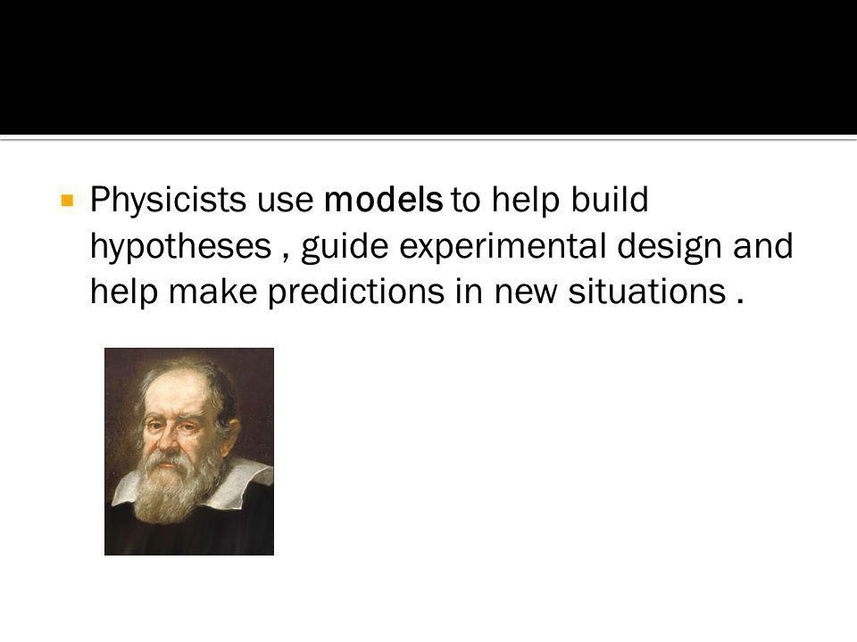 Physicists use models to help build hypotheses , guide experimental design and help make predictions in new situations .