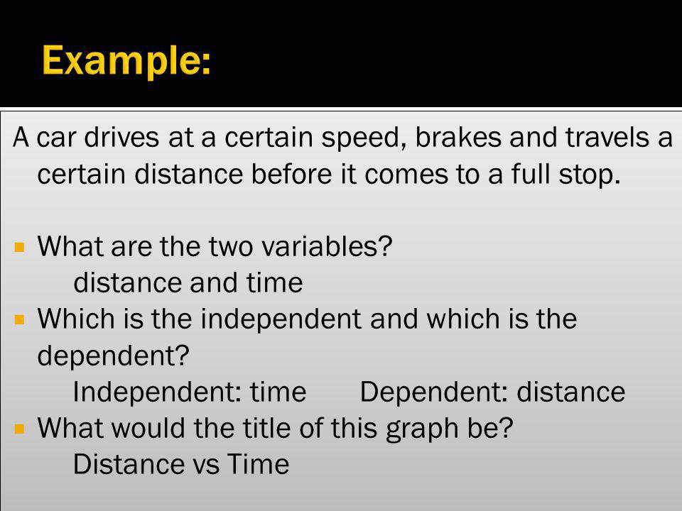Example: A car drives at a certain speed, brakes and travels a certain distance before it comes to a full stop.