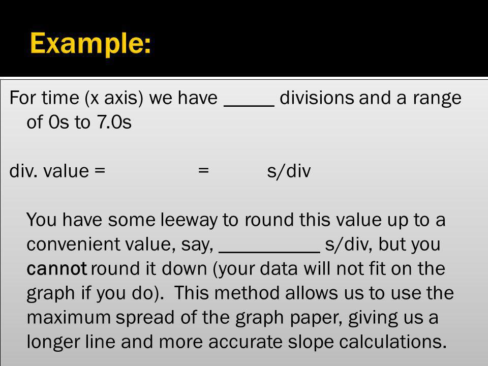 Example: For time (x axis) we have _____ divisions and a range of 0s to 7.0s. div. value = = s/div.