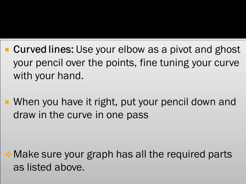 Curved lines: Use your elbow as a pivot and ghost your pencil over the points, fine tuning your curve with your hand.