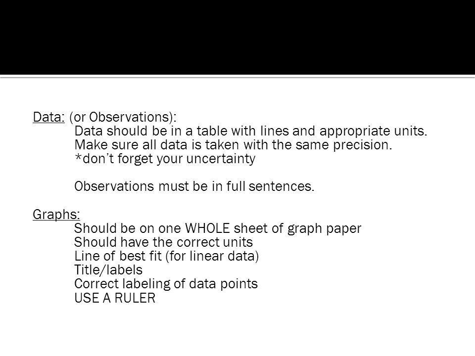 Data: (or Observations): Data should be in a table with lines and appropriate units.