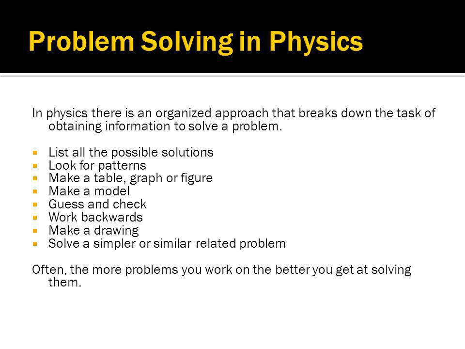 Problem Solving in Physics
