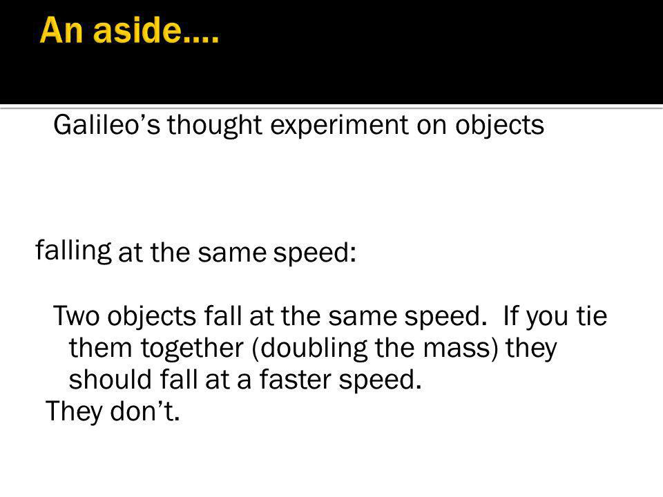 An aside…. Galileo's thought experiment on objects at the same speed:
