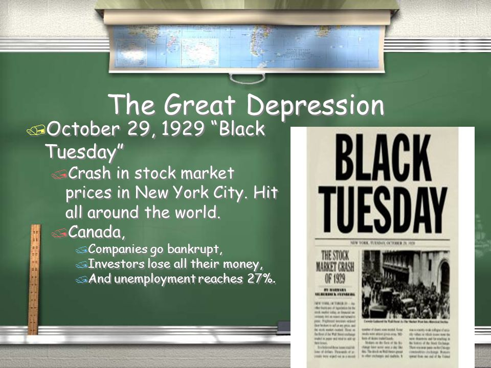 The Great Depression October 29, 1929 Black Tuesday