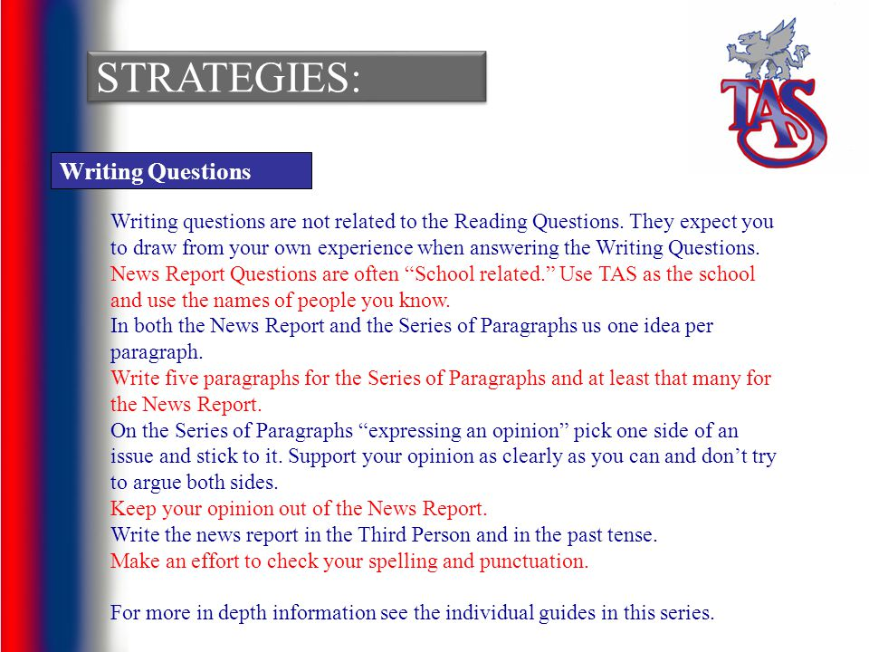 Strategies: Writing Questions