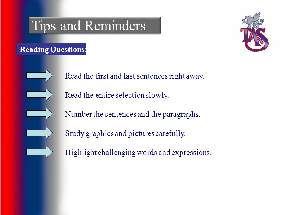 Tips and Reminders Reading Questions: