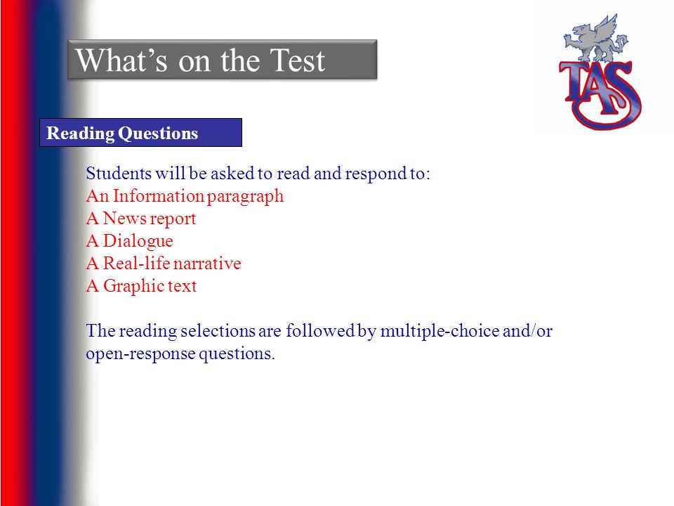 What's on the Test Reading Questions