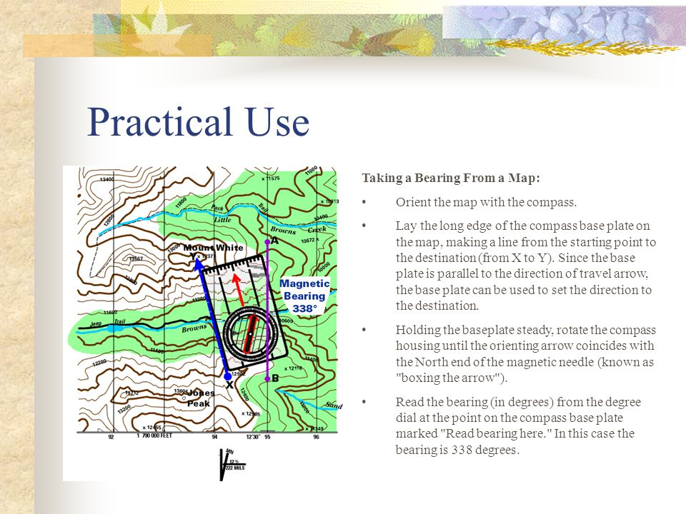 Practical Use Taking a Bearing From a Map: