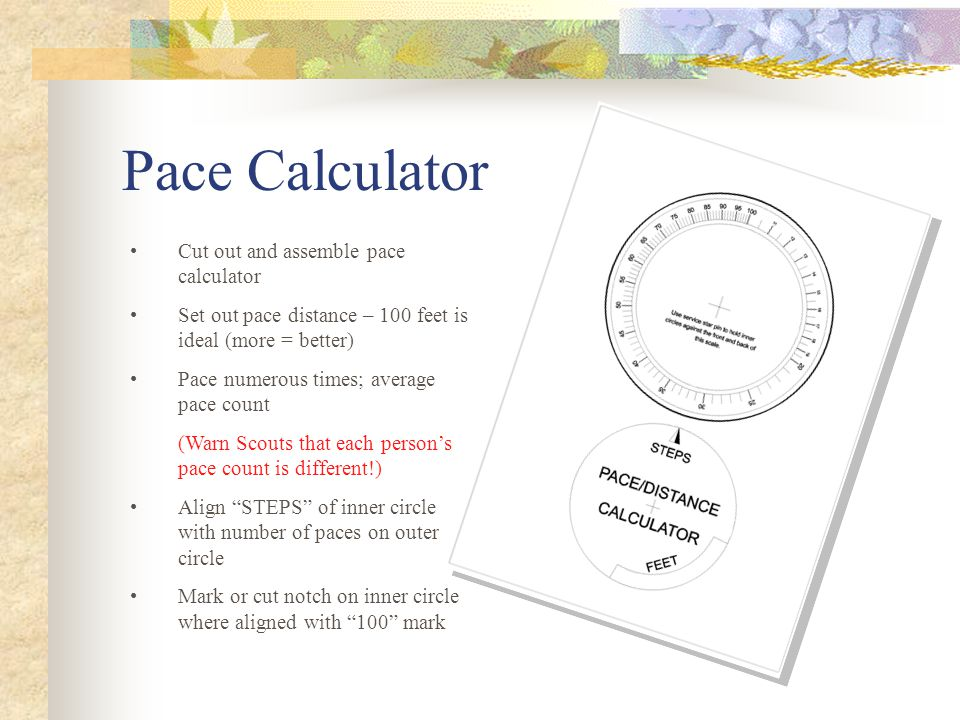 Pace Calculator Cut out and assemble pace calculator