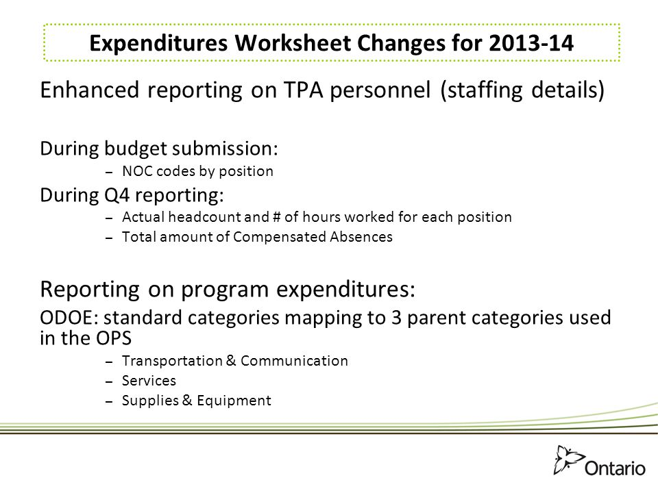 Expenditures Worksheet Changes for 2013-14